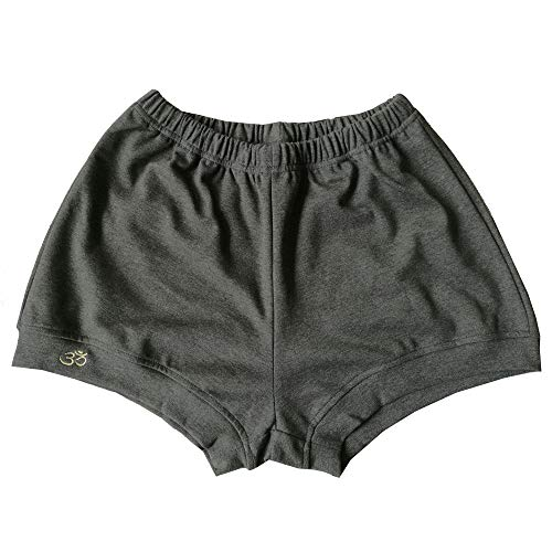 THEECA - Pantalones cortos de algodón elástico suave para mujer y hombre (gris oscuro, M)