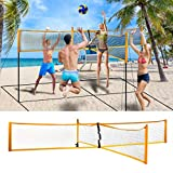 riou Beachvolleyball Netz Set, Tragbares Professionelles Sandgras Garten Strand Cross Volleyballnetz...