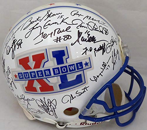 Super Bowl MVP's Autographed Full Size Authentic Proline Helmet With 37 Signatures Including Tom Brady, Joe Montana, Namath, Smith, Manning, Rice & Starr #51/120 JSA