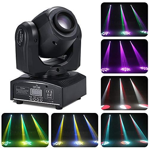 Tomshine Moving Head 30W DMX-512 Mini Disco Licht Party Licht, 9/11 Kanäle, 4 Steuermodus, 540° / 180° Drehung, 8 Gobo 15 Farben für Party,Club, DJ-Show