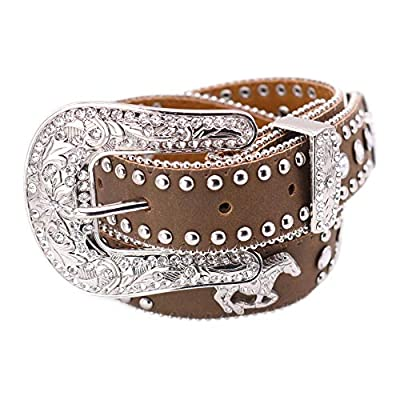 Nocona Girl's Running Horse Conchos Belt, Medium Brown Distressed, 18