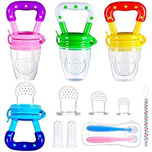 4pcs Chupetes para Frutas S/M/L + 1pcs Cadena de Chupete + 2pcs Cepillos de Dedo para Bebés + 2 Cucharas de Alimentador para Niños Regalos para Bebés