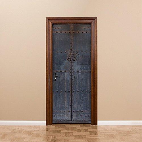 Yanqiao ドア用のステッカー 中国風の古いドア はがせる壁紙 おしゃれでかわいいのシール式 壁飾り