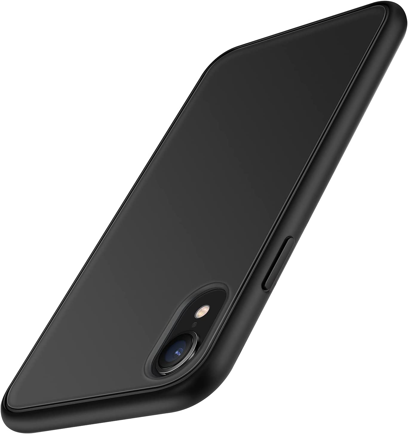 TENDLIN Compatible with iPhone XR Case Translucent Matte Hard Back with Soft Silicone Bumper Comfortable Case (Black)