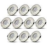 HiBay® 10Stk LED Einbaustrahler Ø55-75mm IP44 GU10 Badezimmer Einbauleuchte Bad Deckenspot Einbauspot Inkl. 5W Leuchtmittel Warmweiß 230V
