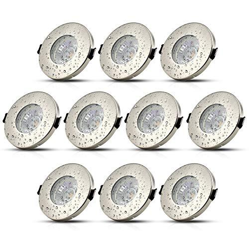 10Stk IP44 LED Einbaustrahler Badezimmer Einbauleuchte GU10 Bad Deckenspot Einbauspot Inkl. 5W Leuchtmittel Warmweiß 230V