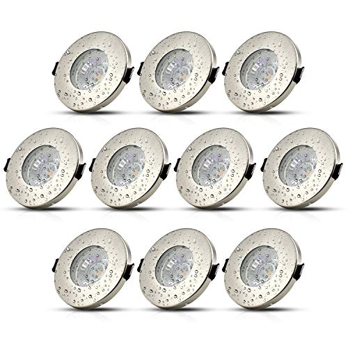 10Stk LED Einbaustrahler IP44 GU10 Badezimmer Einbauleuchte Bad Deckenspot Einbauspot Inkl. 5W Leuchtmittel Warmweiß 230V