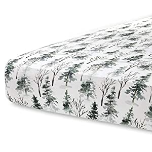 crib bedding and baby bedding pobi baby - premium fitted crib sheets for standard crib mattress - ultra-soft cotton blend, stylish woodland pattern, safe and snug for baby (magical-woods)