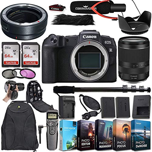 Canon EOS RP Mirrorless Digital Camera with RF 24-240mm is USM Lens and Mount Adapter EF-EOS R Bundled + Deluxe Accessories