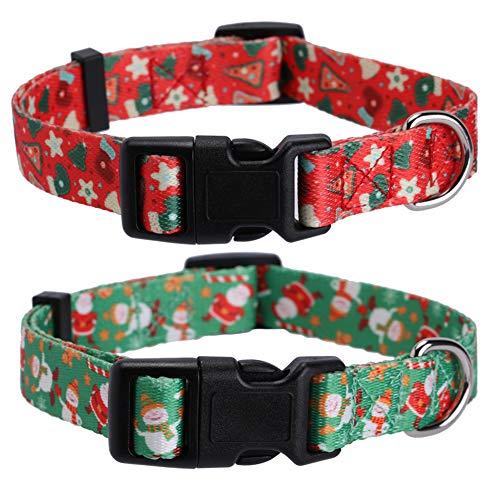 Lamphyface 2 Pack Christmas Dog Collar Adjustable