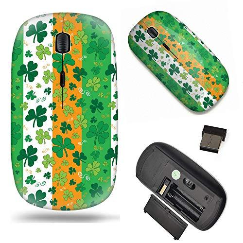 S-Type Optical 2.4G Wireless Mouse with Nano Receiver - Shamrocks on Green, White and Orange Irish Flag Striped Background