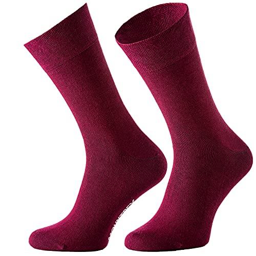 MOUNTREX Herren Damen Business Socken - Herrensocken - Gekämmte Baumwolle (6 Paar), Bordeaux, 43-46
