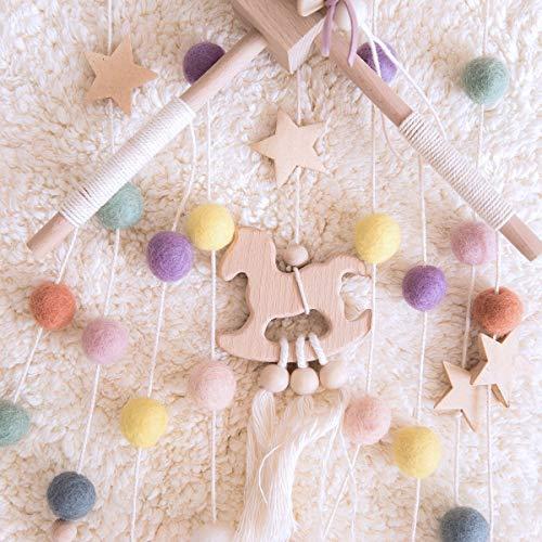 OkawariHomeベッドメリーベビーメリー北欧風モビール木製ハンドメイド風鈴キッズベッド吊り下げ式赤ちゃんベッド飾り撮影道具出産祝い