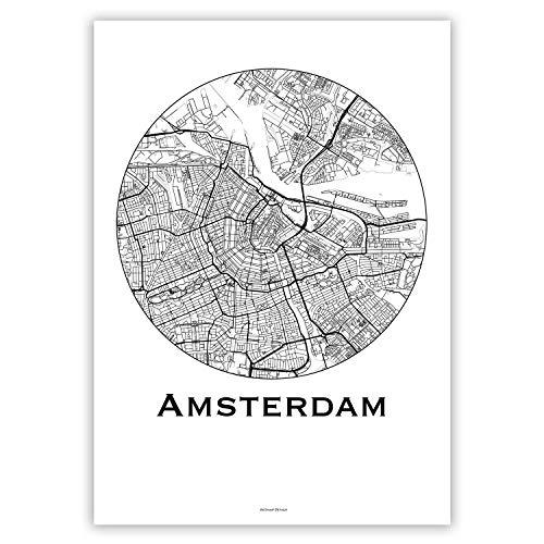 Plakat Amsterdam Niederlande Minimalist Map - Poster, City Map, Dekoration, Geschenk