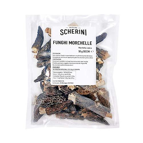 Scherini Valtellina - Pregiati funghi Morchelle secche per buongustai 50g (Spugnole)