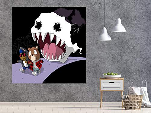 Ayjxtz DIY Malen nach Zahlen Kinder beobachten Geisteralbum Cover Musik Kunst Malerei DIY malen nach Zahlen Kinder Mit Pinsel und Acrylfarbe Erwachsenenfarbe nach Zahlen Kits Ku50x50cm(Kein Rahmen)