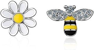 CZ Bee Daisy Flower Asymmetric Sterling Silver Stud Earrings for Women Teen Girls Kids Sensitive Ear Fashion Tiny Animal C...