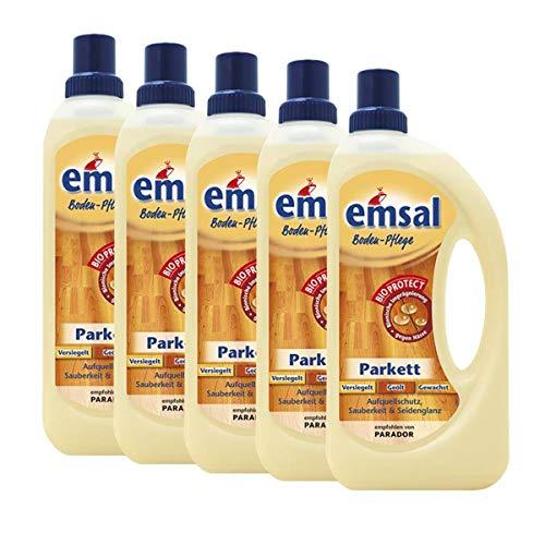 5x emsal Boden-Pflege Parkett 1 Liter mit Bioprotect - Aufquellschutz, Sauberkeit & Seidenglanz