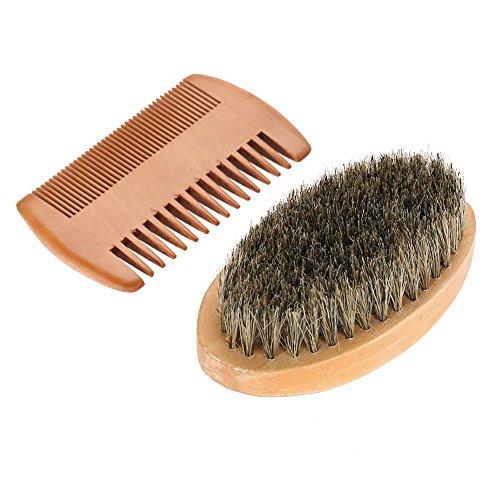 Bartbürste für die Pflege von Männern, ovale Bürste für Bart mit Schnurrbart für Männer + Kamm-Gesichtsrasur-Reinigungs-Pflegeset