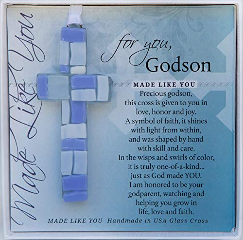 Handmade Glass Cross with Loving Sentiments Perfect Christian Gift for Godson On Birth Baptism Confirmation Christening Birthday from Godparents