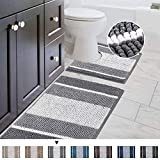 Bathroom Rugs Luxury Chenille 2-Piece Bath Mat Set, Soft Plush Anti-Slip Shower Rug + Toilet Mat Microfiber Shaggy Carpet, Super Absorbent Machine Washable(Curved Set, Gradient Gray)