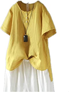 TT WARE Women Short Sleeve O-Neck Button Irregular Vintage Blouse-Yellow-6