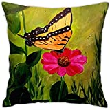 Gjiesh Butterfly On Daisy Throw Cojín Funda de Almohada Throw Pillow Square Diseño Decorativo de Doble Cara 45x45cm Family Interior Sofa Car