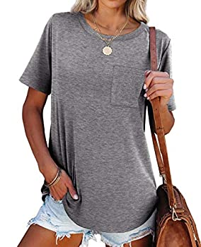 NSQTBA Tshirts for Womens Short Sleeve Summer Tops with Pockets Loose Fitting T Shirts Soft Gray M