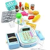 LLEH Imitating Toys Cash Register Till Fingte Play Play Supermarket Toy Play Money Mic Speaker Scanner Shopping Cesta para niños,Azul