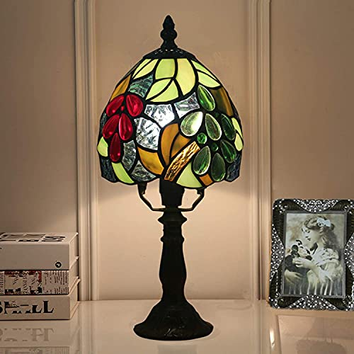 HKAFD Lámpara de Mesa de vidrieras de Estilo Tiffany, Base de aleación de Zinc de 6 Pulgadas E27 / E26