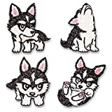 LEUYUAN Parches Ropa Termoadhesivos, (4 piezas) Husky Perros DIY Ropa Parches para la camiseta Jeans Ropa Bolsas, Parches Ropa Termoadhesivos Animales