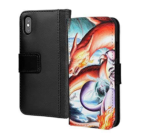 Artístico Fuego Respiración Charizard Lizardon Teléfono Funda PU Cuero Cartera en Tarjeta Teléfono Funda para Samsung Galaxy S8