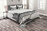 Ambesonne Notre Dame Bedspread, Eastern Tip of The Island of The City Paris in 1890 Antique Sketch Artwork, Decorative Quilted 3 Piece Coverlet Set with 2 Pillow Shams, Queen Size, Black and White
