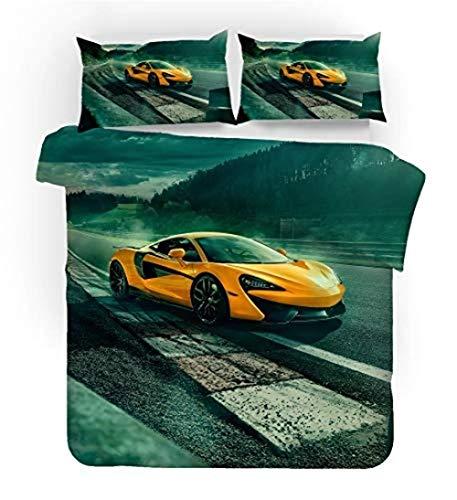 Juego de ropa de cama Fast and Furious 135 x 200 cm + 50 x 75 cm microfibra Our Boy - Ropa de cama suave y suave con cremallera (A07,220 x 260 cm)