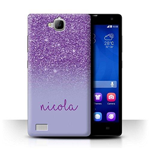 Personalisiert Hülle Für Huawei Honor 3C Persönlich Glitter Effekt Lila Design Transparent Ultra Dünn Klar Hart Schutz Handyhülle Hülle