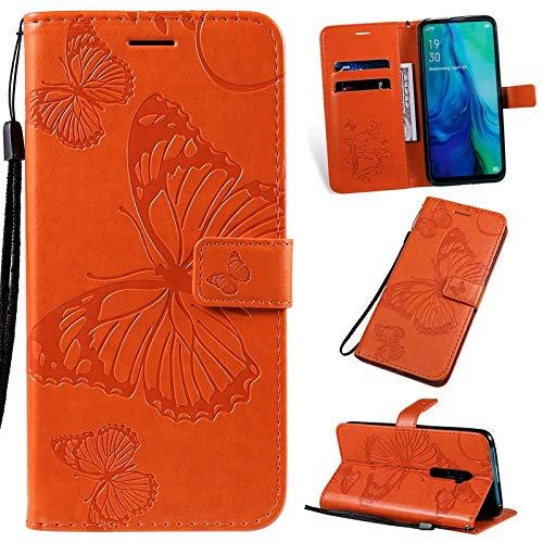 Happy-L de Estuche For OPPO Reno 10x de Zoom (6,6 Pulgadas), Diseño Floral Flor de Mariposa de la PU de la Carpeta del Soporte del Cuero con Correa (Color : Orange)