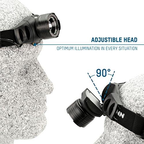ANSMANN LED Stirnlampe HD7F mit stufenloser Fokussierung – Profi LED Arbeitsleuchte mit 280 Lumen – Kopflampe ideal zum Radfahren Laufen mit Hund Joggen Angeln Jagd Camping Werkstatt Fahrrad Licht - 6