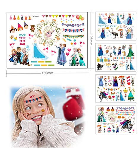 Frozen Temporary Tattoos for Kids, WaterproofGirl Tattoos Stickers, 5Sheets, Different 50+pcs, Girls Kids Party Bag Filler, Adult and Education Use, Frozen Gift
