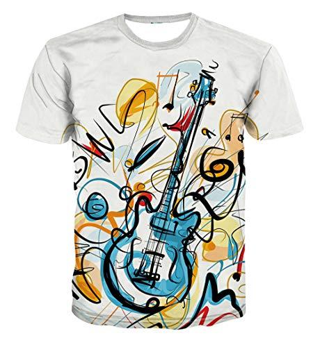 Zomer Mannen T-Shirt 3D Print Slank Korte Casual Sleeve Tops O-hals Pullover Blouse Tee Cartoon Gitaar Muziek Hawaiian Beach T-Shirts