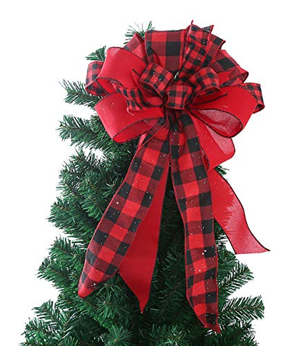 FLASH WORLD Christmas Tree Topper,22x12 Inches Buffalo Plaid Toppers Bow with Black&Red Streamer Wired Edge for Christmas Decoration (Black and Red)