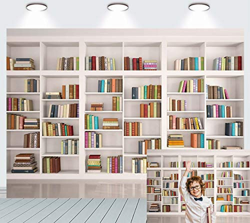Bookshelf Backdrop Books Bookcase Library Office Photography Background Video Call Backdrop Photo Studio Props 7x5FT