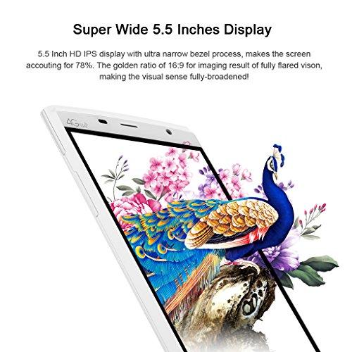 "LEAGOO Elite 5 - Smartphone Libre Android 4G LTE (Pantalla IPS Ogs 5.5"", Quad Core, 2G Ram 16Gb ROM, Dual Sim, Hotknot, OTA, Sensor de Gesto, Smart Wake), Blanco"