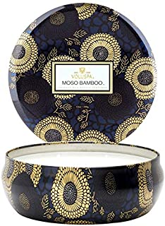 Voluspa Moso Bamboo 3 Wick Tin Candle , 12 Ounces