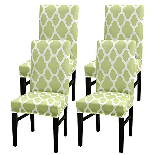 Stretch Dining Chair Covers, Removable Washable High Back Chair Protective Cover Slipcover, Soft Stretch Elastic Chair Protector Seat Covers for Dining Room Wedding Banquet Party Decoration(4 pices)