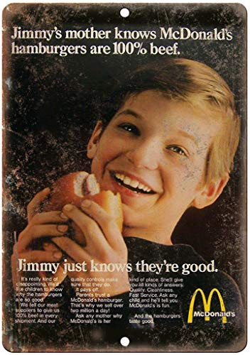 HALEY GAINES McDonald's Hamburger Jimmy Knows metalen metalen metalen borden decoratie retro stijl bord vintage aluminium poster originele muurkunst voor bar café keuken garages 20 × 30 cm
