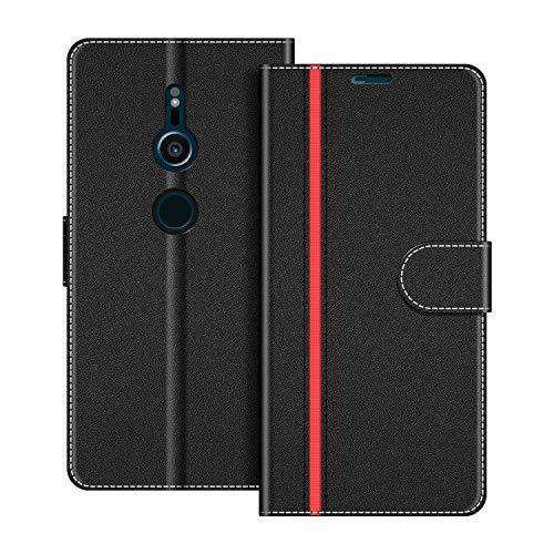 COODIO Handyhülle für Sony Xperia XZ2 Handy Hülle, Sony Xperia XZ2 Hülle Leder Handytasche für Sony Xperia XZ2 Klapphülle Tasche, Schwarz/Rot