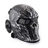 Máscara táctica CS Airsoft de Cara Completa con diseño de Calavera de WWMAN, Gris-Plata, para Halloween, Cosplay