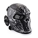 Wwman - Máscara táctica de cara completa para airsoft, paintball y juegos de guerra, diseño de calavera, equipo de protección, plata