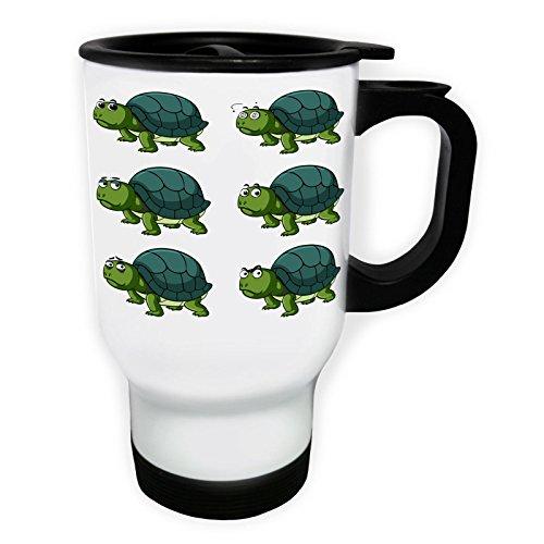 INNOGLEN Schildkröte Gesichts Smile Weiß Thermischer Reisebecher 14oz 400ml Becher Tasse p778tw