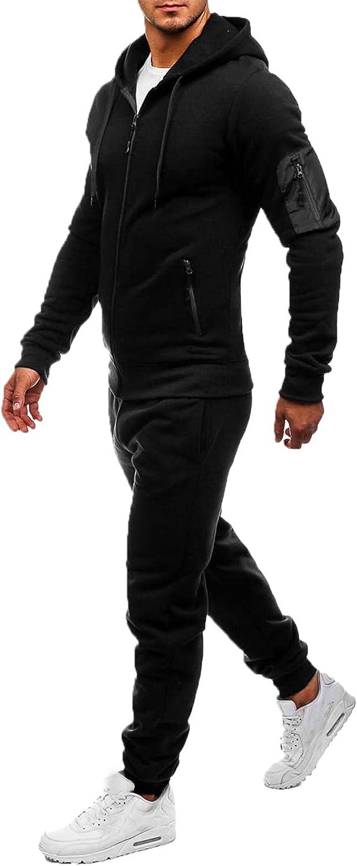 Men Sports Tracksuits Sets 2 Piece Outfits Autumn Winter Casual Long Sleeve Sweatshirt Jogger Sweatpants
